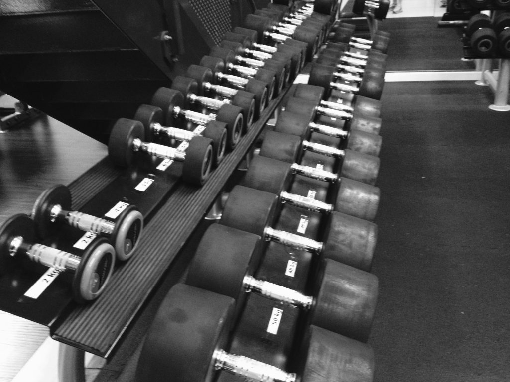 gym equipment, dumbbells