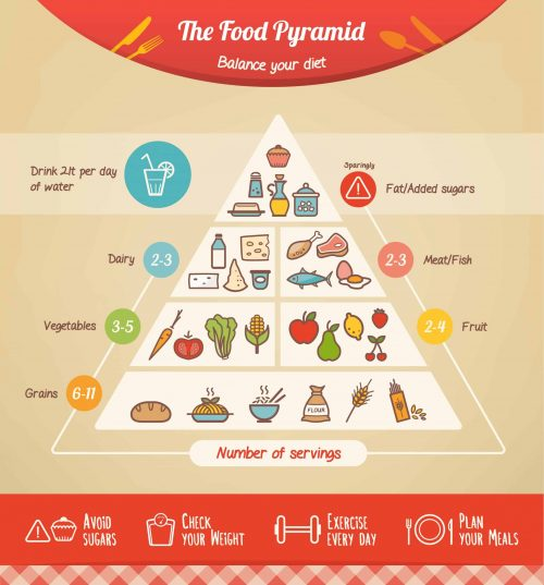 The food pyramid infographic with food icons and categories, for hair transplant